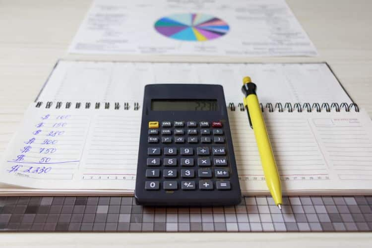Calculator and pencil on notepad with finance charts - retirement nest egg calculator my annuity store, inc