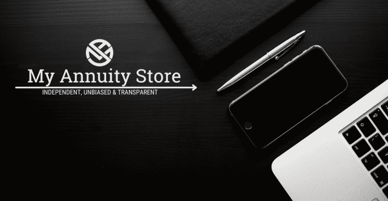 Annuity calculators featured image - silver laptop sitting on black background with my annuity store logo in white in top left corner