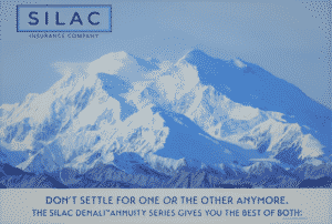 Silac annuity cover picture of mountains covered in snow