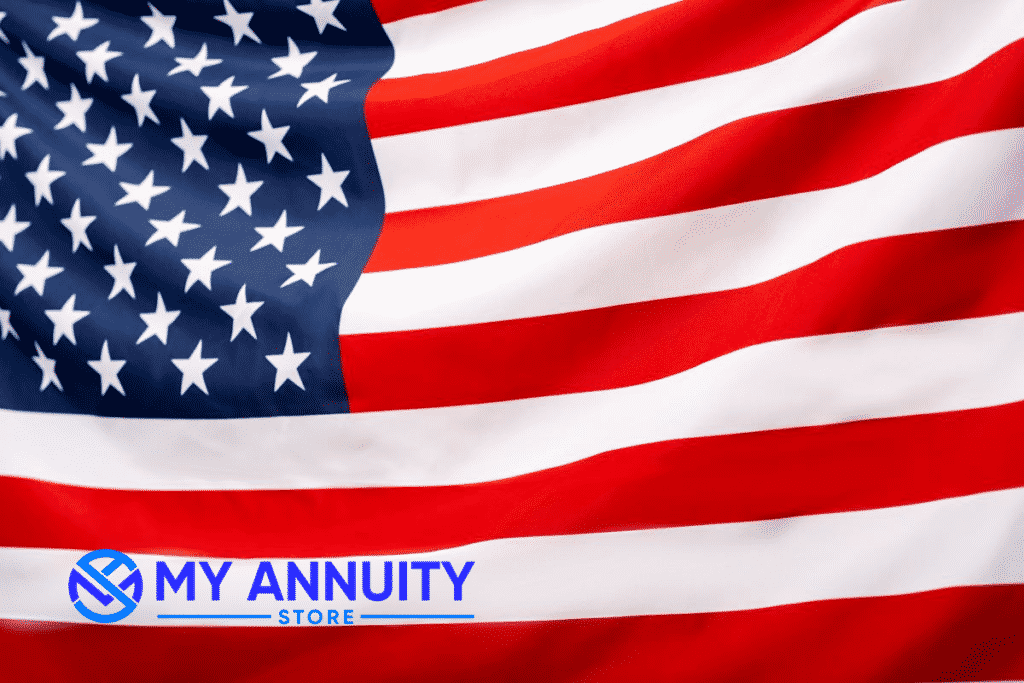 American Flag with My Annuity Store Logo bottom left hand corner