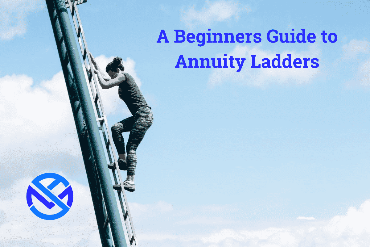 Annuity ladders featured image of woman climbing steel ladder in the sky with white clouds in background and my annuity store logo bottom left corner