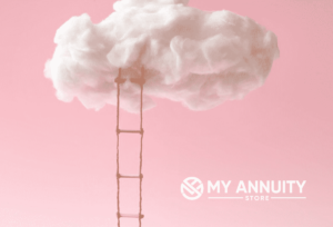 A rope ladder hanging from fluffy cloud with pink background and white my annuity store logo