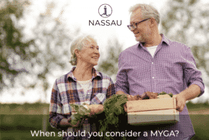 Older couple collecting vegetables from a garden - nassau simple annuity brochure cover