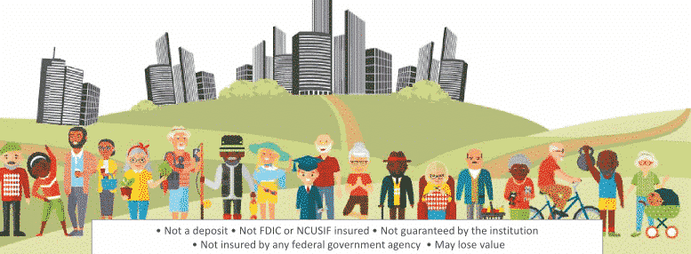 Income annuity - income annuit guide image of many retired people mixed ages and races in front of a city skyline