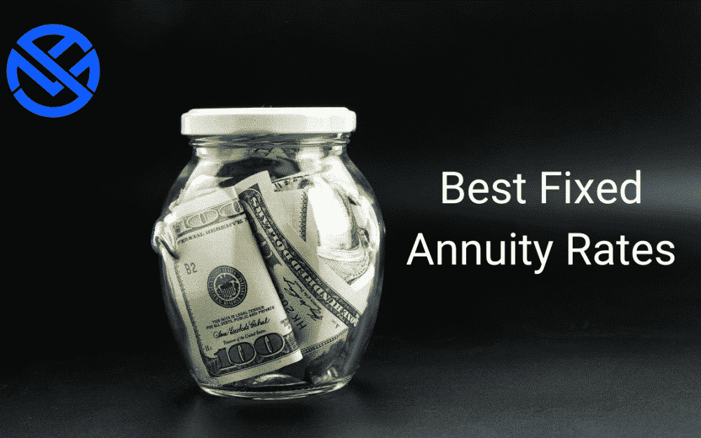 Best fixed annuity rates in white type on black background with glass jar stuffed with cash. My annuity store circular monogram logo top left corner